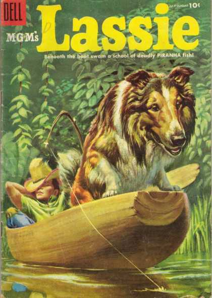 Lassie 23 - Dog - Boat - Stick - Fishing Line - Water