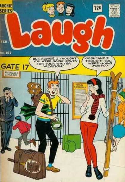 Laugh Comics 167 - Archie Series - Gate 17 - Veronica - Train Schedule - Golf Clubs