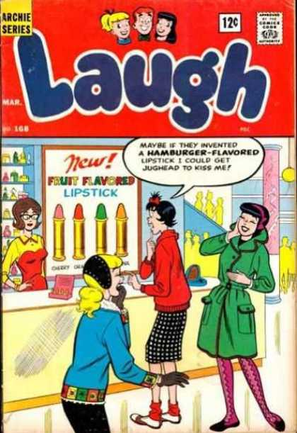 Laugh Comics 168 - Fruit Flavored Lipstick - Cherry - Hamburger Flavored - Jughead - Cosmetic Counter