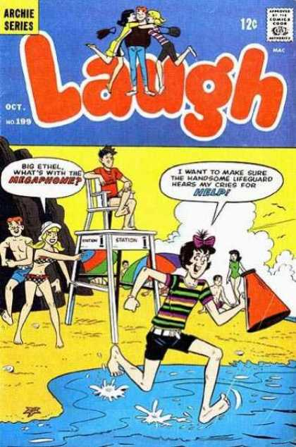 Laugh Comics 199 - Lifeguard - Beach - Megaphone - Big Ethel - Handsome