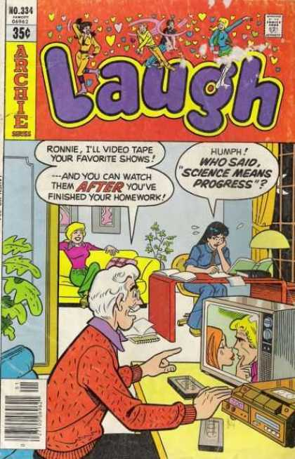 Laugh Comics 334 - Ronnie - Television - Videotapes - Studying - Couch