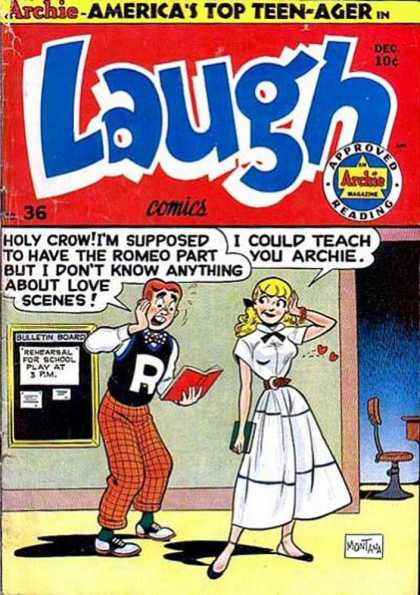 Laugh Comics 36 - Rehearsal For School Play - I Could Teach You Archie - Holy Crow - I Dont Know Anything About Love Scenes - School