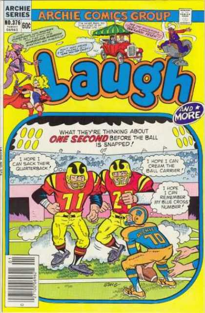 Laugh Comics 376 - Archie Comics - No 376 - Football - Yellow And Black Helmet - Yellow Pants