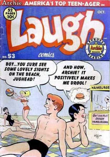 Laugh Comics 53 - Archie - Hamburger Stand - Beach Ball - Veronica - Betty