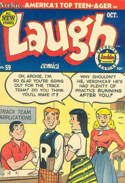 Laugh Comics 59 - Veronica - Betty - Track Team - Letter Sweater - Basketball Goal
