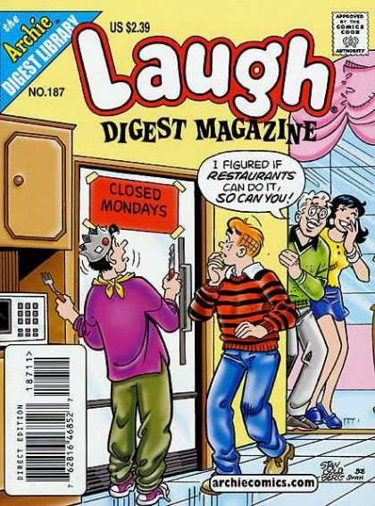 Laugh Digest 187 - Archie Digest - Jughead And Archie - Archie And Jughead - Closed Mondays On Fridge - Veronica And Mr Lodge