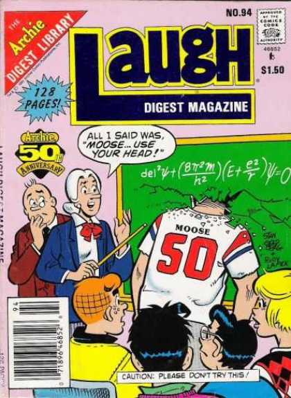 Laugh Digest 94 - Comics Code - Archie Digest Library - Classroom - Teacher - Cautionplease Dont Try This