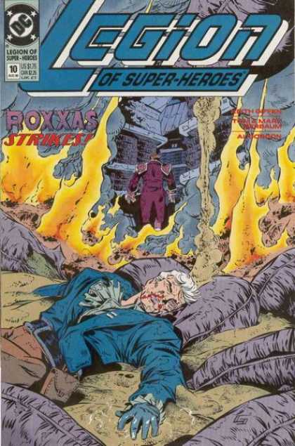 Legion of Super-Heroes (1989) 10 - Legion - Burning - Purple Suit - Dead - Bleeding - Keith Giffen