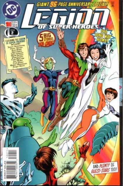 Legion of Super-Heroes (1989) 100 - 5 Big - Green Face - Flying Superheroes - The Long Way Home - Mountain - Alan Davis