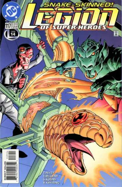 Legion of Super-Heroes (1989) 117 - Snake-skinned - Trapped Snake - Beast - Creature - Tongue - Alan Davis