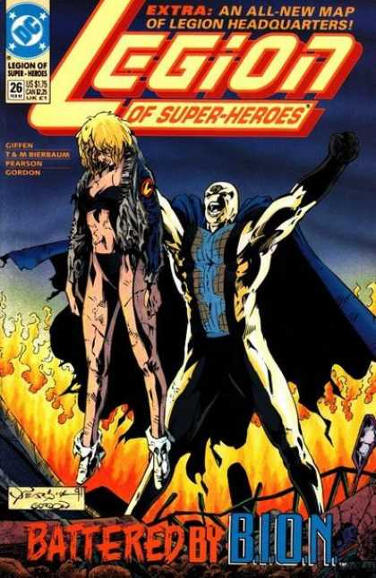Legion of Super-Heroes (1989) 26 - Caped Monster - Fiery Inferno - Woman - Battle - Beaten - Jason Pearson