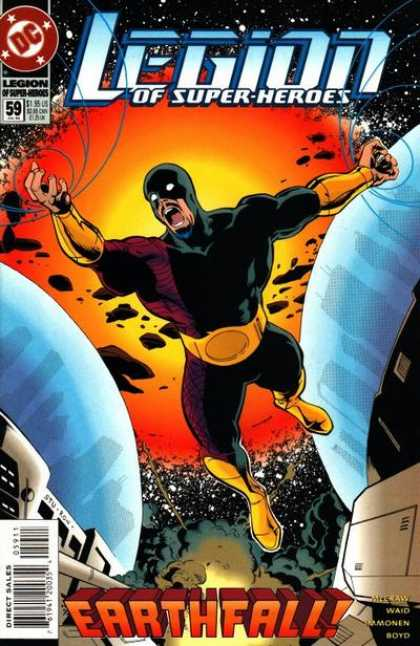 Legion of Super-Heroes (1989) 59 - Exploding Sun - Hero In Black Outfit - Earthfall - Spaceship - Planet Earth - Stuart Immonen