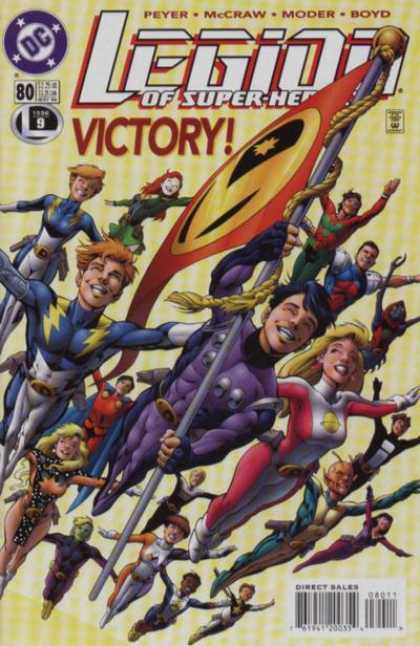 Legion of Super-Heroes (1989) 80 - Victory - Feyer - Issue 80 - Flying - Flag - Alan Davis
