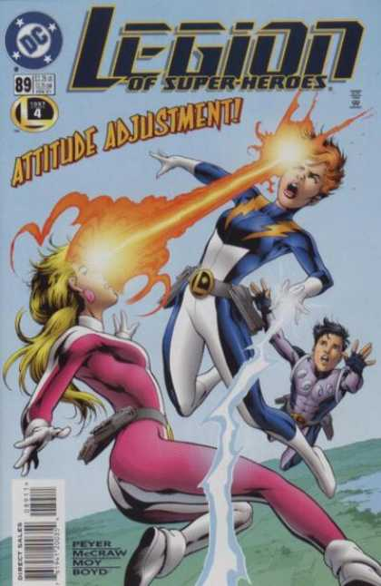 Legion of Super-Heroes (1989) 89 - Dc - Attitude Adjustment - Pever - Mccraw - Laser Beam To The Head - Alan Davis