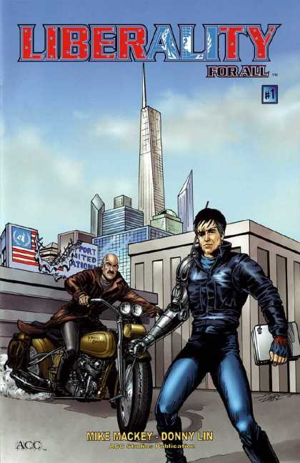 Liberality For All 1 - Mike Mackey - Donny Lin - Motorcycle - Cityscape - Cybernetic Arm