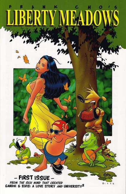 Liberty Meadows 1 - First Issue - Yellow Dress - Butterflies - Tree - Pig With Glasses - Frank Cho