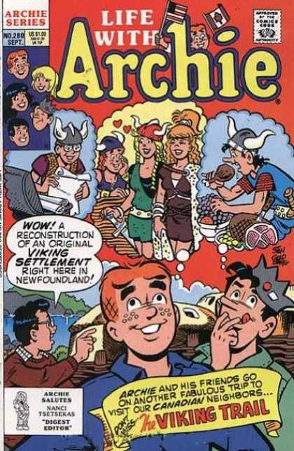 Life With Archie 280 - Viking Trail - Archie Series - Digest Editor - People - Man With Black Hair - Stan Goldberg