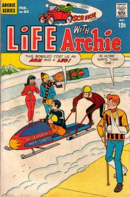 Life With Archie 82 - Snow Mobiles - Snow - Crutches - Arm Sling - Sidewalk
