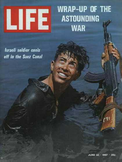 Life - Israeli soldier cools off in the Suez Canal
