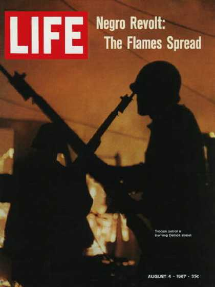 Life - Troops patrol Detroit afire