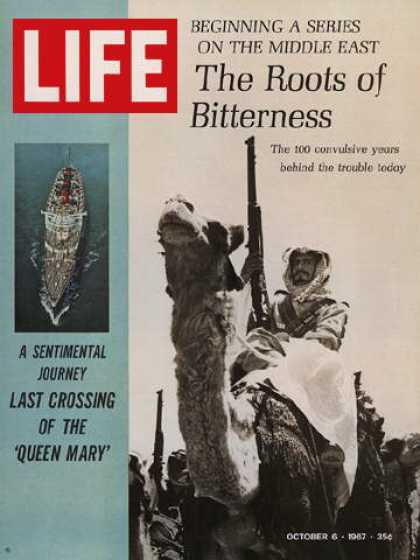 Life - S.S. Queen Mary and Arab rifleman