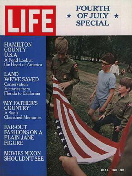 Life - Iowa boy scouts with flag
