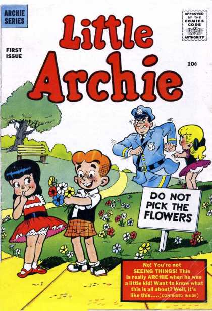 Little Archie 1 - Approved By The Comics Code - Archie Series - First Issue - Do Not Pick The Flowers - Boy