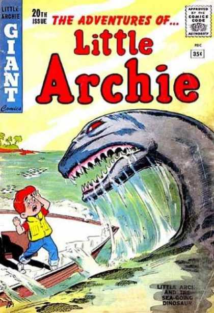 Little Archie 20 - Island - Trees - Sea Monster - Red Eyes - Boat