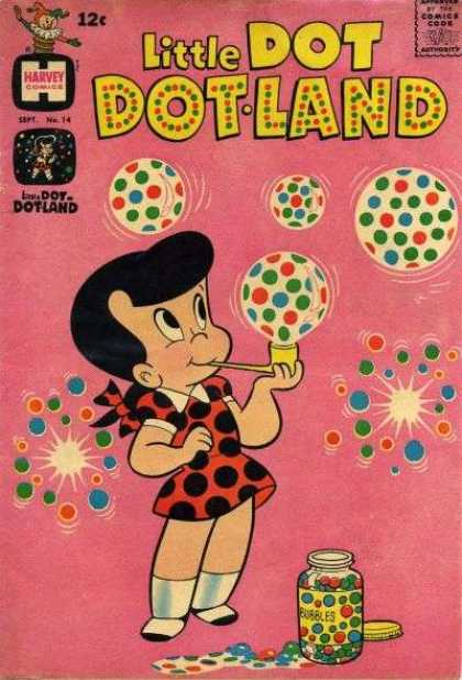 Little Dot Dotland 14 - Harvey Comic - Blowing Bubbles - Polka Dots - Pipe - Bursting