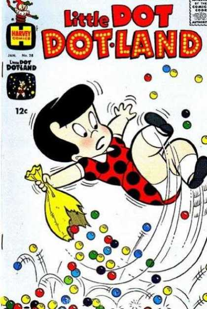 Little Dot Dotland 28 - Harvey - Polka Dots - Marbles - Jack In The Box - 12 Cents