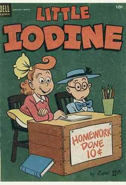Little Iodine 22 - Dell Comic - Homework Done - Hats - Pencils - Book