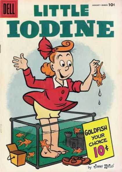 Little Iodine 29 - Goldfish - Fish Tank - Barefoot - Red Dress - Red Hair