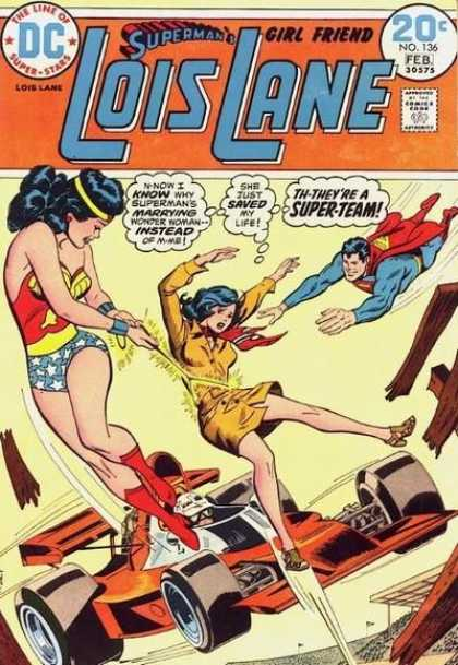 Lois Lane 136 - Superman - The Line Of Super-stars - Approved By Comics Code - Wonder Woman - Car