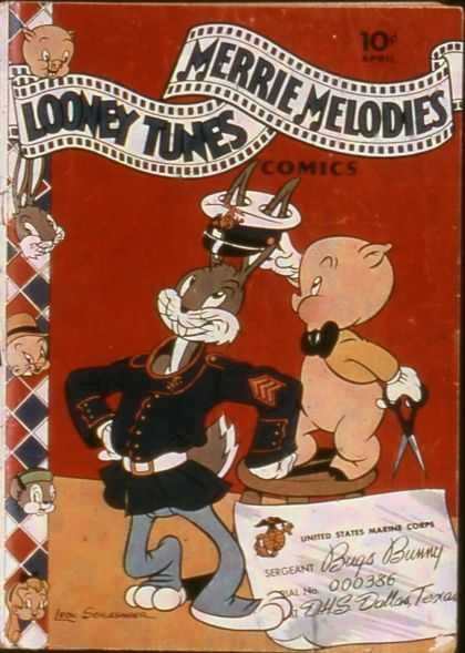 Looney Tunes 18 - Bugs Bunny - Porky Pig - Leon Schlesinger - Red And Blue - Classic Characters