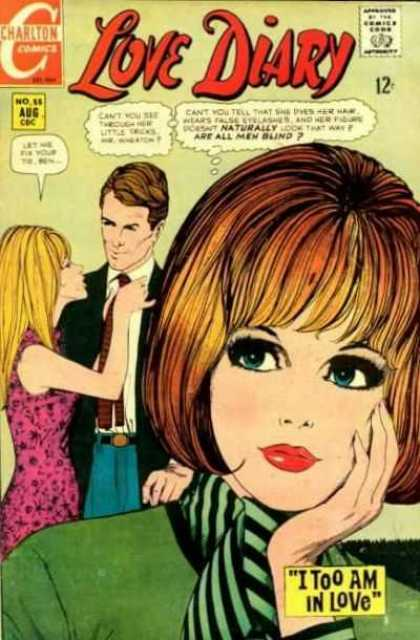 Love Diary 55 - Charlton Comics - I Too Am In Love - Men Are Blind - Blue Eyes - Blonde