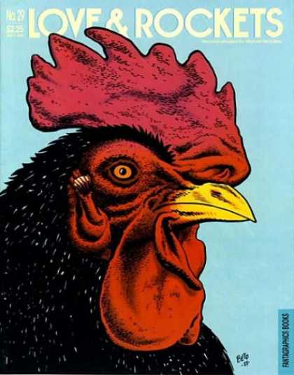 Love & Rockets 29 - Phantagraphic Books - Light Blue Cover - Yellow Beak - Black Rooster - Amber Eye With Black Pupil