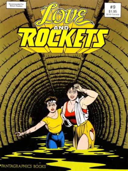 Love & Rockets 9 - Tunnel - Sewer - Two Women - Torn Clothing - Distressed