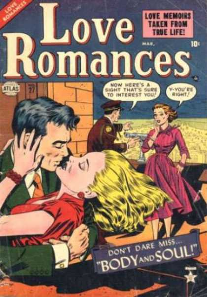 Love Romances 27 - Man And Lady Embracing - An Official - On The Roof Of A Building - Lady In Pink Dress - Viewing Apparatus To See The City