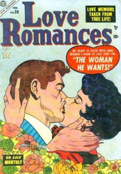 Love Romances 36 - No 36 - The Woman He Wants - Couple Kissing - Love Memoirs - Flowers