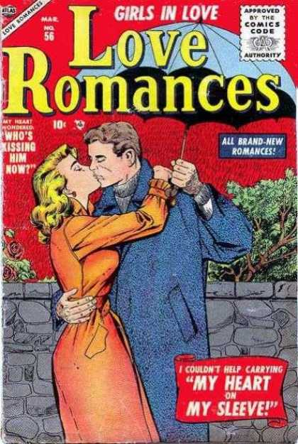 Love Romances 56 - Girls In Love - Kissing - Umbrella - Romance - Heart On My Sleeve