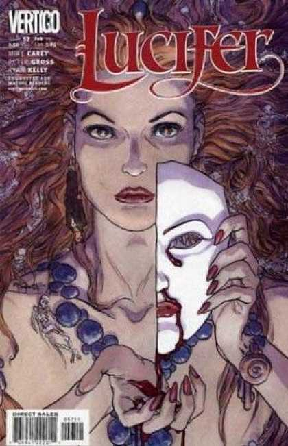 Lucifer 57 - Vertigo - Bloody Half-face Mask - Purple Necklace - Flowing Red Hair - Skeletons - Michael Kaluta