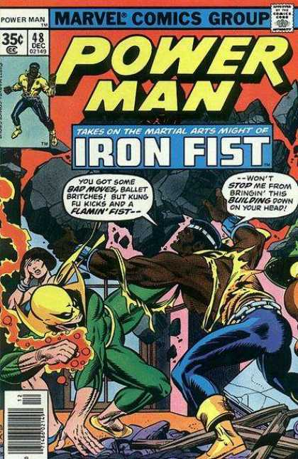 Luke Cage: Power Man 48 - Martial Arts - Iron Fist - Boulders - Lifing - Hand On Lady Face
