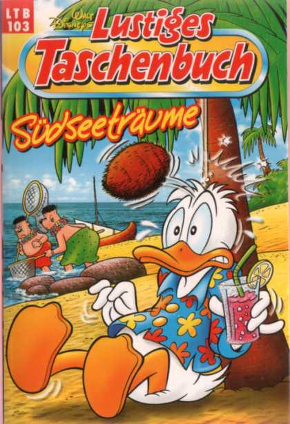 Lustiges Taschenbuch Neuauflage 103 - Donald Duck - Coconut Hitting Donald In The Head - Glass Of Pink Punch - Islanders In Grass Skirts - Sandy Beach