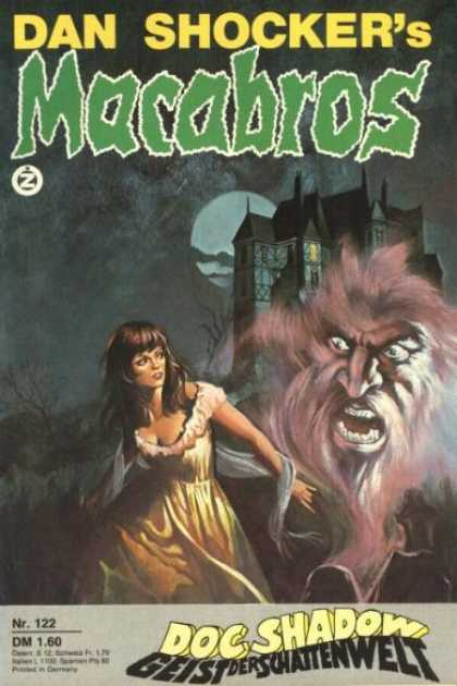 Macabros - Doc Shadow - Geist der Schattenwelt - Dan Shocker - Large Haunted Mansio - Woman In Yellow Dress - Large Devil-like Head - Full Moon Covered In Shadows