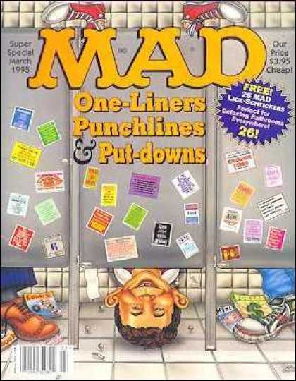 Mad Special 102 - Post It Notes On Bathroom Stalls - Feet In The Air - Head Under Bathroom Doow - Mad Head On Floor - Bathroom One Liners