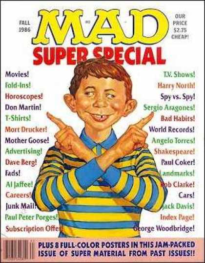 Mad Special 56 - Fall 1986 - Blue And Yellow Striped Shirt - George Woodbridge - Mother Goose - Don Martin