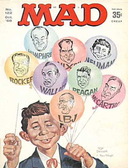 Mad 122 - Balloons - Pin - Oct 68 - No 122 - Politicians