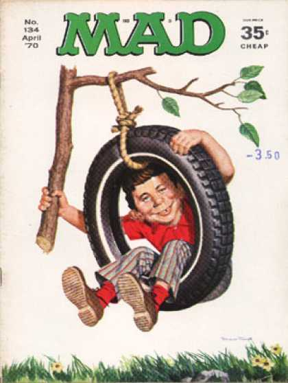 Mad 134 - Tire Swing - Branch - Boy - Rope - Red Shirt