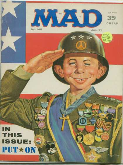 Mad 140 - Alfred E Neuman - Soldier - Bemedalled - General - Salute