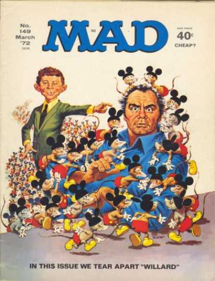 Mad 149 - Man Wearing Blue Shirt - Covered In Mice - Mice Wearing Mickey Ears Pants And Shoes - Willard - Alfred E Neuman